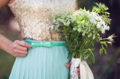 mint + gold sequins with a bow for the bridesmaids | Disney-inspired wedding | Sun & Sparrow Photography | Oh Lovely Day