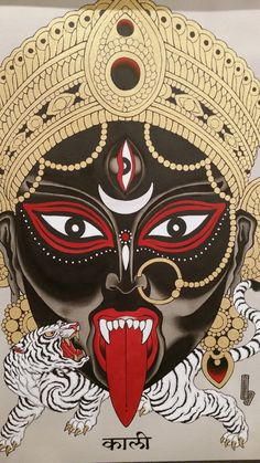 """From the exhibition """"Time: Tattoo Art Today"""" (Somerset House, London Sep-Oct Kali Goddess, Black Goddess, Goddess Art, Goddess Tattoo, Mother Kali, Divine Mother, Indian Gods, Indian Art, Kali Tattoo"""