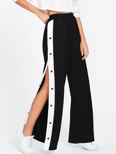 Young Preppy and Sexy Wide Leg Loose Elastic Waist Mid Waist Black Long Length Tape Button Side Wide Leg Pants Teen Fashion Outfits, Mode Outfits, Trendy Outfits, Girl Fashion, Girl Outfits, Fashion Dresses, Preteen Girls Fashion, Denim Outfits, Tomboy Outfits
