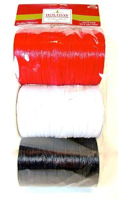 Jo-ann's Holiday Inspirations Raffia Ribbon,red/white/black,180ft.total *** Want additional info? Click on the image.