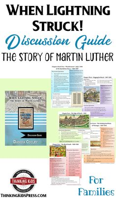 Learn about the story of Martin Luther with the When Lightning Struck! Book Discussion Guide for families. Bible study, timelines, Reformers, and more! Homeschool High School, Homeschool Curriculum, Homeschool Kindergarten, Homeschooling, Reformation Day, Protestant Reformation, Parenting Articles, Lightning Strikes, Christian Parenting