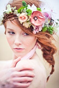 Beach brides fishtail braid long bridal hair ideas Toni Kami Wedding Hairstyles wedding hairstyle with flower crown Flower Crown Wedding, Wedding Hair Flowers, Bridal Flowers, Flowers In Hair, Floral Wedding, Wedding Day, Flower Crowns, Hair Wedding, Fresh Flowers