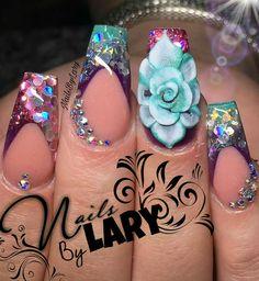 Azul violeta rosa 3d flor nails styles