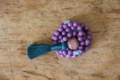 genuine phosphosiderite, aquamarine & sunstone, calm and optimistic, 108 bead knotted gemstone mala, meditation japa, mantra mala