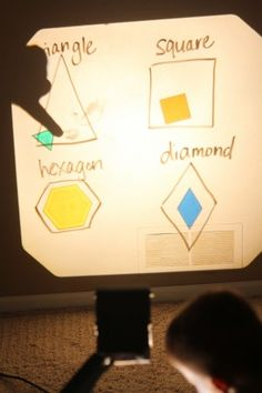 overhead projector ideas.  Also draw boxes and sort letters or #'2