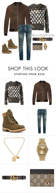 """Men's weekend wear"" by nicolemorris87 on Polyvore featuring Valentino, Dolce&Gabbana, Timberland, Balmain, Versace, Rolex, Gucci, men's fashion and menswear"
