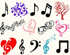Music Note SVG Bundle, Music Note cut files, music svg, music clip art, files for silhouette, files for cricut, dxf, eps, vector file, decal