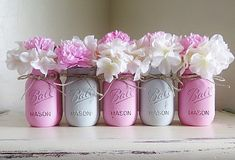 Pink and Gray Distressed Mason Jars. Baby Shower Centerpieces. Shabby and Chic. Distressed Mason Jars. Pink and Grey Pained Mason Jars by MyHeartByHand on Etsy
