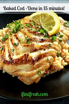 Baked Cod w/Garlic Butter Baked Cod, Baked Fish, Seafood Recipes, Gourmet Recipes, Most Pinned Recipes, Fresh Eats, Recipe From Scratch, White Meat, Garlic Butter