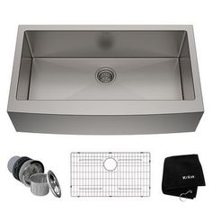 Farmhouse Apron Sink, Apron Front Kitchen Sink, Double Bowl Kitchen Sink, Kitchen Sinks, Kitchen Appliances, Stainless Steel Kitchen, Sound Proofing, Basin, Cutting Board