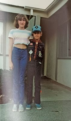 Jenna Lyons with her brother Spencer | Before she started making her own clothes, Lyons used to like the way crop tops flattered her proportions. | photo: courtesy of Jenna Lyons