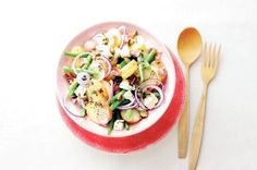 Aardappelsalade op z'n Italiaans 20 Min, Mozzarella, Pasta Salad, Bbq, Dinner Recipes, Potatoes, Ethnic Recipes, Food, Drinks