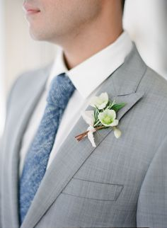 Gray suit +  organic spring boutonniere: http://www.stylemepretty.com/2016/07/01/how-to-bring-the-beauty-of-provence-to-your-wedding-day/ | Photography: ARTIESE Studios - http://artiesestudios.com/