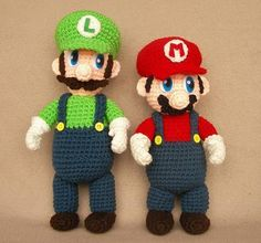 Crochet Luigi and Mario - for my cousin for Christmas. <3