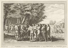 Jacob van der Schley | Marina en andere vrouwen aan Cortés geschonken, 1519, Jacob van der Schley, 1725 - 1779 | Marina wordt samen met negentien andere Azteekse vrouwen door een Maya-hoofdman geschonken aan de Spaanse ontdekkingsreiziger en veroveraar Hernán Cortés (ook wel Fernand Cortez genoemd), 1519. Marina, ook wel bekend als la Malinche, werd later de geliefde van Cortés. Op de achtergrond danst een groep mannen rond een hangmat. Rechts de vloedlijn, enkele hutten en mensen met…