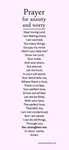 A prayer for anxiety and worry. Your rest and peace depend on the Lord. Let him free you, heal you, and make you strong again.