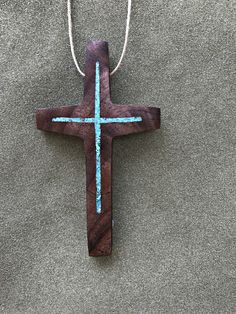 """Walnut Cross with Turquoise Inlay 3"""" high x 2"""" wide  wall, car by BlackFacedSheep on Etsy"""