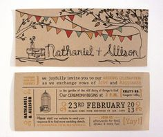 Rustic Kraft Wedding Invitation With Tree, Pennant Flags & Mason Jar Illustrations on Etsy, $2.50