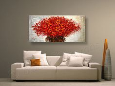 ORIGINAL Red Bouquet Painting 48 x 24 Large Abstract por Artcoast