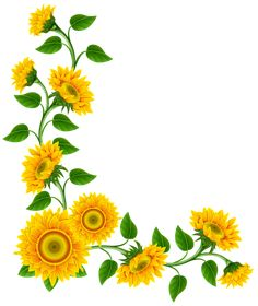 Dessert clipart border from Berserk on. Clip art is a great way to help illustrate your diagrams and flowcharts. Sunflower Clipart, Sunflower Png, Sunflower Images, Frame Border Design, Page Borders Design, Art Floral, Flower Frame, Flower Art, Clip Art