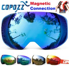 COPOZZ brand ski goggles replaceable magnetic lenses UV400 anti-fog ski mask skiing men women snow snowboard goggles