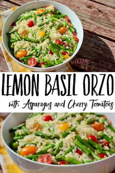Lemon Basil Orzo with Asparagus and Cherry Tomatoes is the PERFECT dish all year round-- warm in the winter, cold in the summer, fresh and pretty all the time!