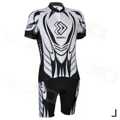 Lambd CM1301 Mens Bicycle Cycling Short Sleeves Jersey + Shorts Set - Black + White (Size L)
