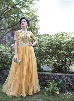 Colour Yellow Fabric Russell Net Occasion Party, Reception Type Gown