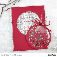#Card with removable Ornament. Fun idea, right?! Details on my blog-link in profile. #prettypinkposh #sequins
