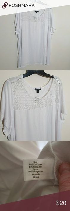 NWT-Lane Bryant Lace Yoke Tee Pretty top with lace detail at the top. Super soft. Great for spring and summer. Size 26/28. NWT Lane Bryant Tops