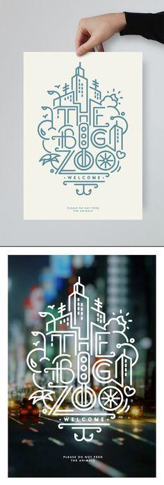 Javi Bueno → THE BIG ZOO - Design graphique, Design d'icônes, Illustration . Icon Design, Graphisches Design, Line Design, Graphic Design Inspiration, Layout Design, Design Ideas, Info Graphic Design, Simple Poster Design, Design City
