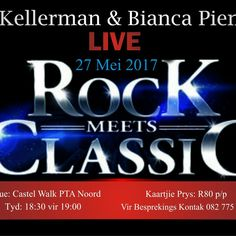 Come join MJ Kellerman & Bianca Pienaar in concert live at Castle Walk Restaurant, 27 May @ 6:30pm for 7pm till late. Ticket exclude drinks and food. See image for more details or call 0823265060 to book and pay. Limited seats available!