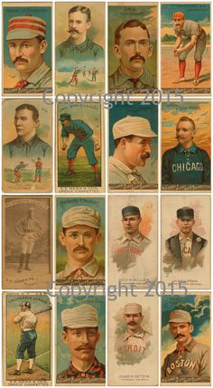 - Vintage Baseball Cards #1 Collage Sheet - 16 images on a sheet - Can be used for any art project, altered art, decoupage, jewelry etc - Professionally printed on medium weight cardstock