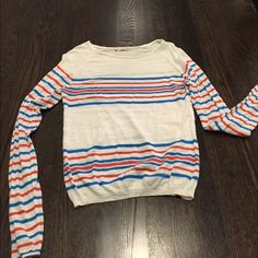 Hinge blue orange and white striped sweater Hinge by Nordstrom sweater that is very light. Mainly white with blue and orange stripes down the arms and across the bust area and along the bottom Hinge Sweaters Crew & Scoop Necks