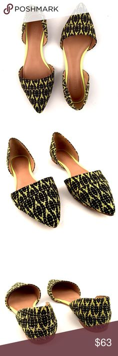 J.Crew Flats Woven neon D'Orsay flats. - Excellent condition!   • Please Note: All images are taken by me and are the exact same item you would receive if you decided to purchase.      • 🔄 No Trades J. Crew Shoes Flats & Loafers