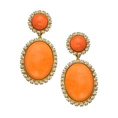 Liz Palacios Orange Caboche and Crystal Drop Earrings ($122) ❤ liked on Polyvore featuring jewelry, earrings, crystal stone jewelry, round earrings, round drop earrings, oval earrings and orange crystal jewelry