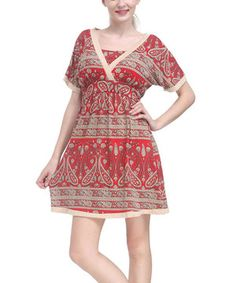 Another great find on #zulily! Burgundy & Cream Paisley V-Neck Dress by Reborn Collection #zulilyfinds
