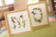 Pressed flower monograms