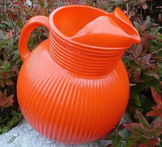 Hazel Atlas Ribbed Ball Pitcher  / Tangerine Orange