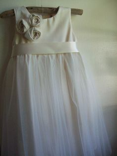 Ivory Flower girl dress ...... Organic sateen Cotton 2T-5. $99.00, via Etsy.