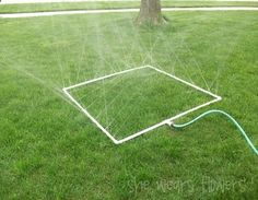 Great idea for the veg garden: all you need is PVC, a drill, and a hose.@Rena' Ruble Ruble Ruble Ruble Ruble Ruble May R here ya go make one to custom fit your weird shaped garden and POOF! all your watering is taken care of no waste! you could even spray paint the pipe brown to match the mulch better so it wouldnt stand out too much--just use the paint they make for plastic   naturewalkz
