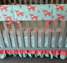 Foxy 4 pc #Bumperless Bedding – Polka Tot Designs #Woodland #Nursery #foxes #coral & #aqua for #Baby #Girl