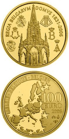 N♡T.100 euro: 175 years Dynasty.Country:	Belgium  Mintage year:	2006 Face value:	100 euro Diameter:	29.00 mm Weight:	15.55 g Alloy:	Gold Quality:	Proof Mintage:	5,000 pc proof