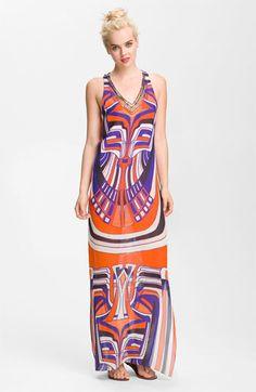 Nicole Miller Racerback Tribal Print Maxi Dress