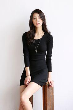 Four color-Corrugated slim dress
