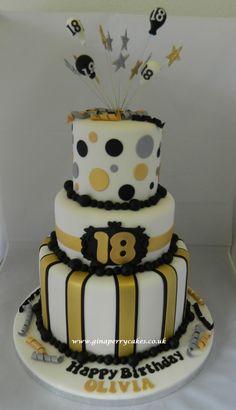 18th Birthday cake - gold Silver & Black theme