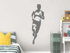 For any club runner or running hobbyist, this athlete wall sticker may just be perfect for their bedroom or playroom decor. 3 sizes and many colours available Childrens Wall Stickers, Vinyl Wall Stickers, Wall Decals, Music Wall, Playroom Decor, Action Poses, Bedroom Wall, Athlete, Colours