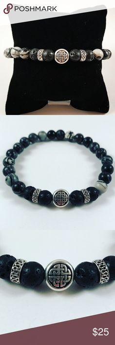 Men lava rock grey bead celtic knot bracelet Men beaded bracelet. Fits most , 7.5 to 8.5 inch wrist. Handmade by me , never worn by anyone. Made with black lava rock / volcano beads and Grey marble howlite . Silver plated celtic knot bead designs and deco charms  .I ship fast!!✈️Bundle and save !! ( 10 % off bundles) Any questions let me know ! No transactions outside Poshmark!! Accessories Jewelry