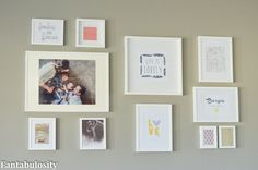 5 Easy Decorating Tips - Photo/Art Gallery  Blogger said: I have framed art with our last name, first names, and the year my hubby and I were married.  I also included images that mean something to us, for another personal touch.  Like the black and white photo of the airplane?  My husband is a pilot, and by adding this to our wall collage, I wanted him to have a piece of the puzzle too.  IKEA Frames Wall Gallery Idea http://fantabulosity.com