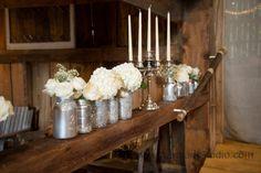 Barn Wedding Decoration Rustic Elegance Silver Glitter Mason Jars Candleabra White Flowers
